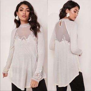 Free People Saheli Lace Mesh Long Sleeve Top